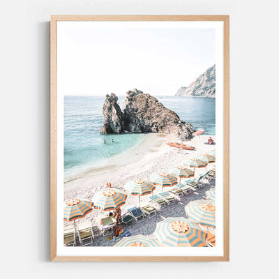 Print Workshop, Framed Print, Afternoons At Monterosso, Natural Australian Oak Box Frame with White Border