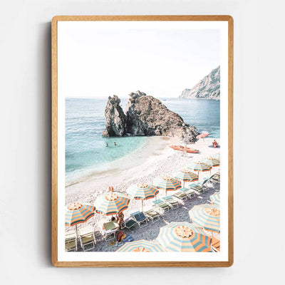 Print Workshop, Framed Print, Afternoons At Monterosso, Rounded Corner Natural Oak Box Frame, Light Oak Stain with White Border