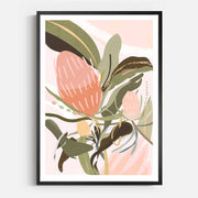 Print Workshop, Framed Print, Banksia Lust, Box Frame, Black Smooth Coating with White Border