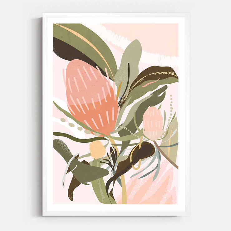 Print Workshop, Framed Print, Banksia Lust, Box Frame, White Smooth Coating with White Border
