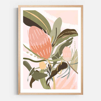 Print Workshop, Framed Print, Banksia Lust, Natural Australian Oak Box Frame with White Border