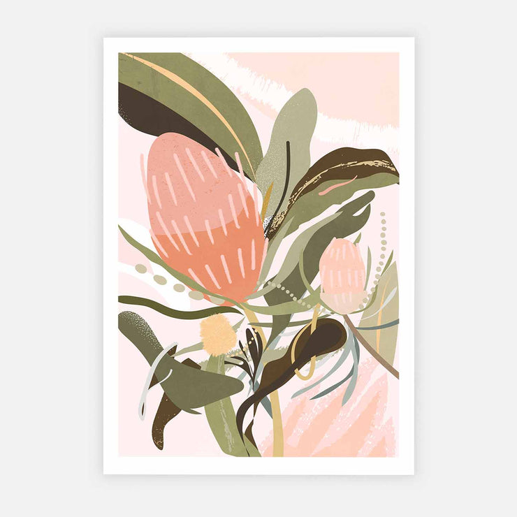 Print Workshop, Banksia Lust, Print Only, No Frame with White Border