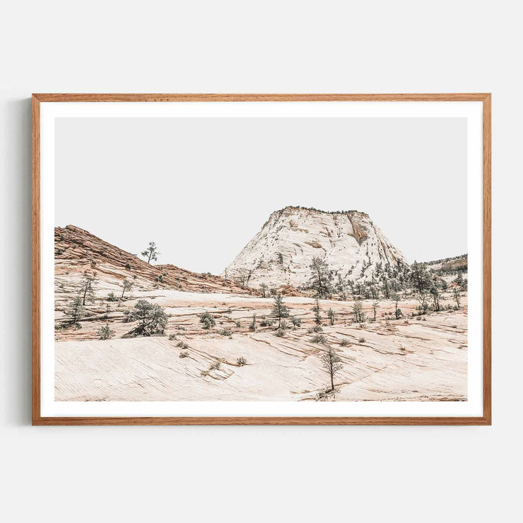 Print Workshop, Framed Print, Beige Mountainscape, Natural Oak Box Frame, Chestnut Stain with White Border