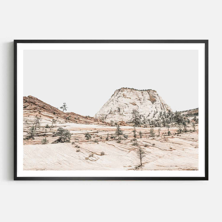 Print Workshop, Framed Print, Beige Mountainscape, Box Frame, Black Smooth Coating with White Border