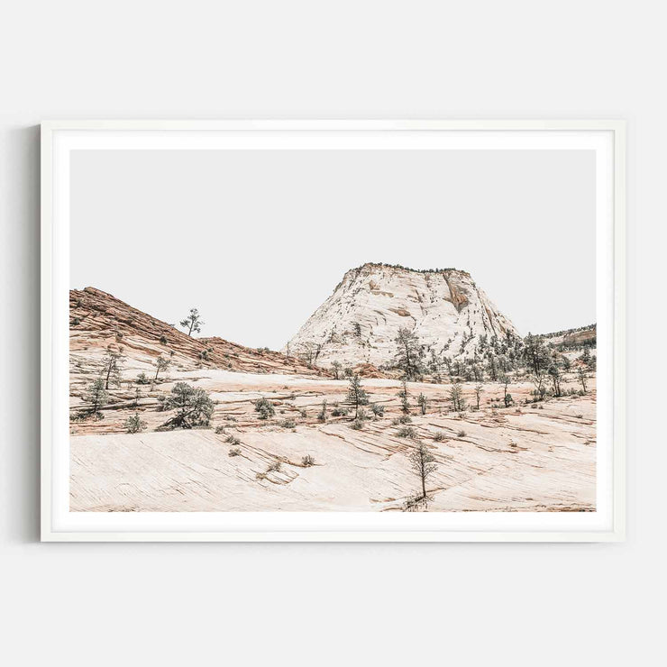 Print Workshop, Framed Print, Beige Mountainscape, Box Frame, White Smooth Coating with White Border