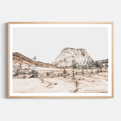 Print Workshop, Framed Print, Beige Mountainscape, Natural Australian Oak Box Frame with White Border