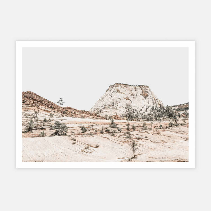 Print Workshop, Beige Mountainscape, Print Only No Frame with White Border