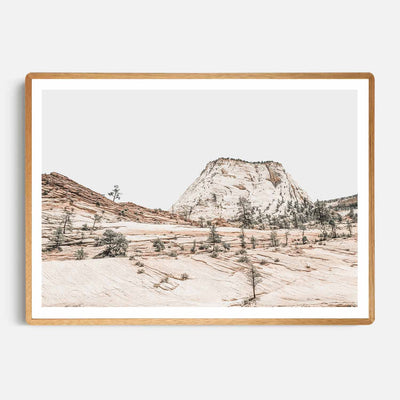Print Workshop, Framed Print, Beige Mountainscape, Rounded Corner Natural Oak Box Frame, Light Oak Stain with White Border