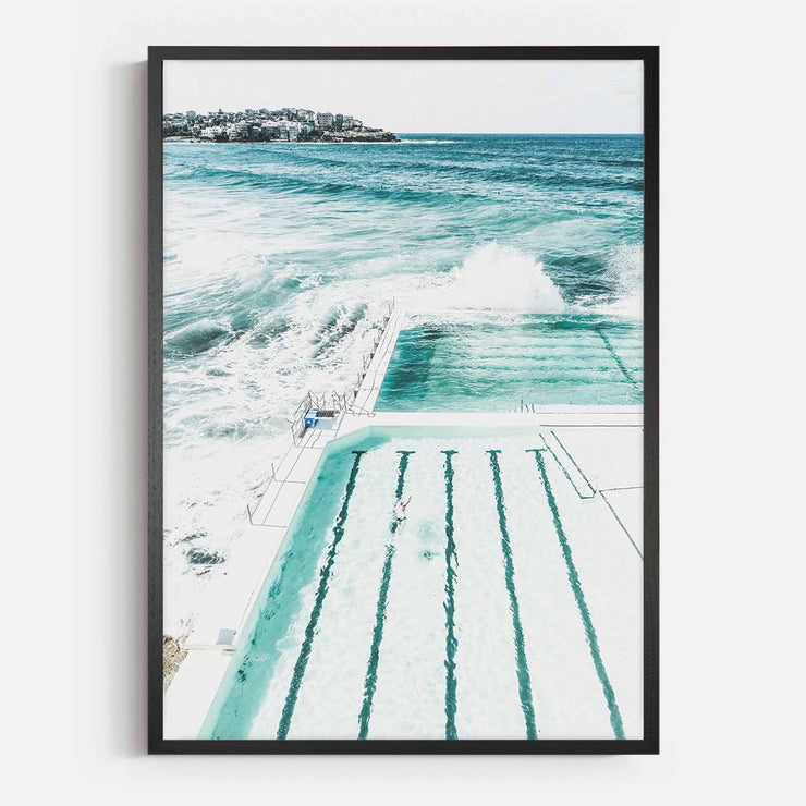 Print Workshop, Framed Print, Bondi Beach Pool, Natural Oak Box Frame, Black Coating, No White Border