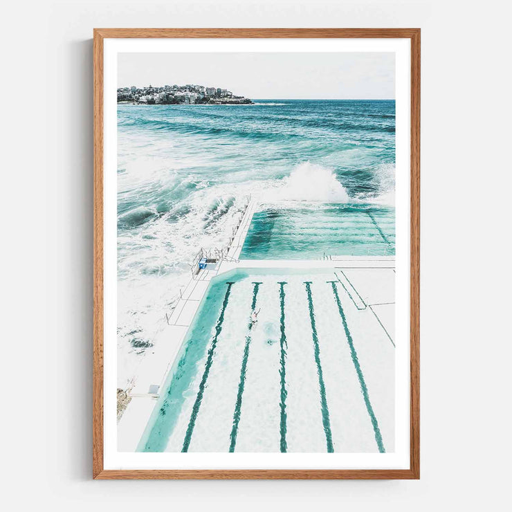 Print Workshop, Framed Print, Bondi Beach Pool, Natural Oak Box Frame, Chestnut Stain with White Border