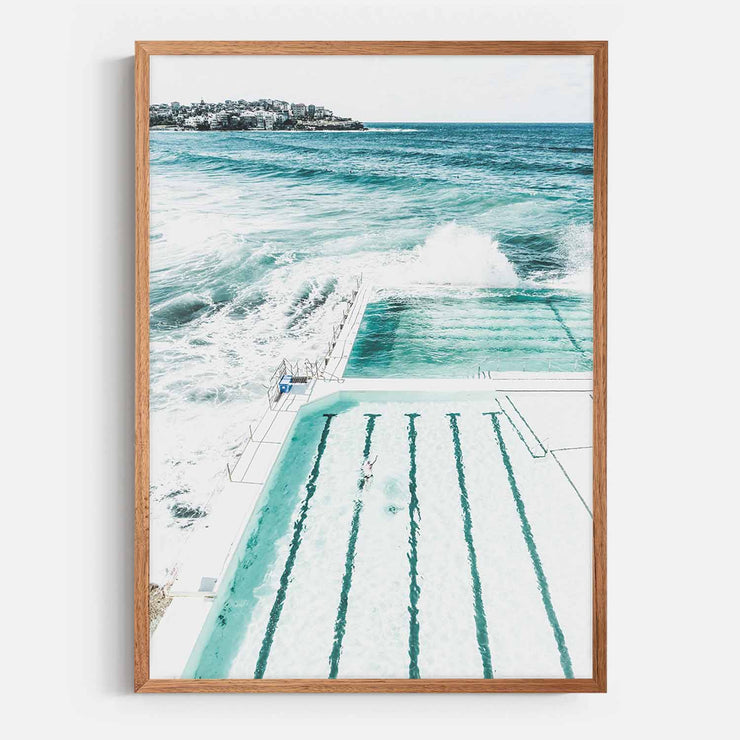 Print Workshop, Framed Print, Bondi Beach Pool, Natural Oak Box Frame, Chestnut Stain, No White Border