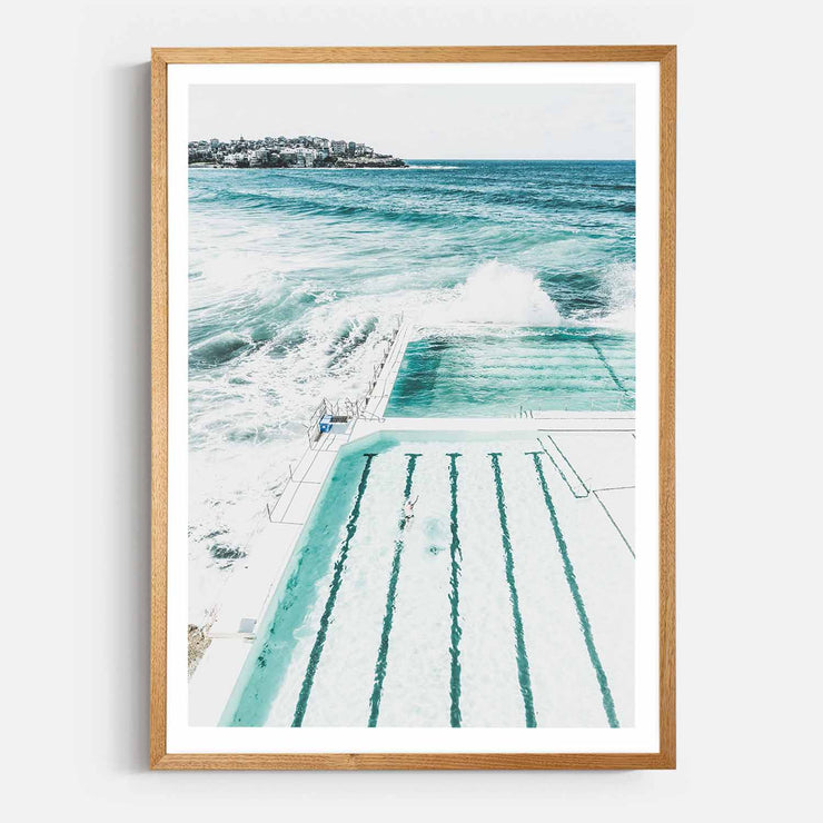 Print Workshop, Framed Print, Bondi Beach Pool, Natural Oak Box Frame, Light Oak Stain with White Border