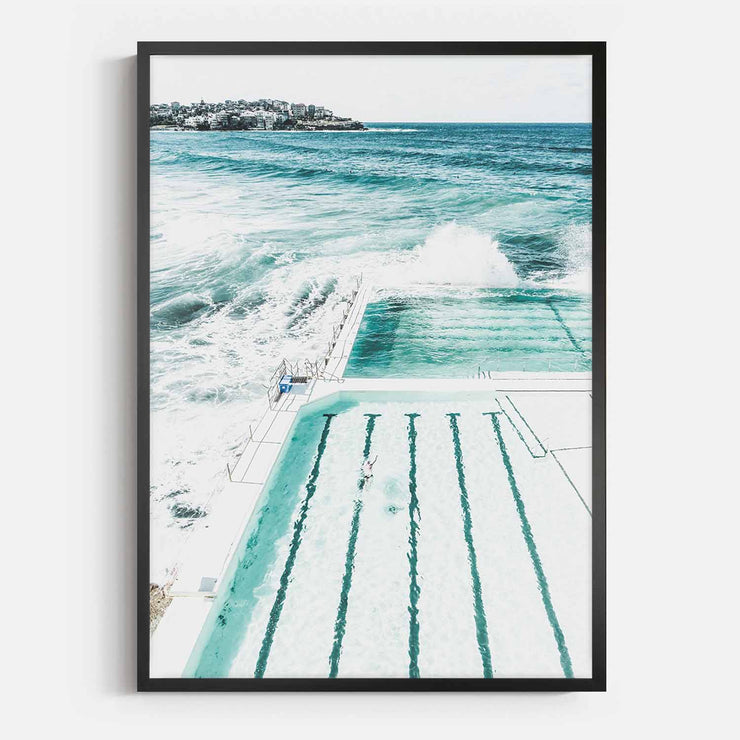 Print Workshop, Framed Print, Bondi Beach Pool, Box Frame, Black Smooth Coating, No White Border