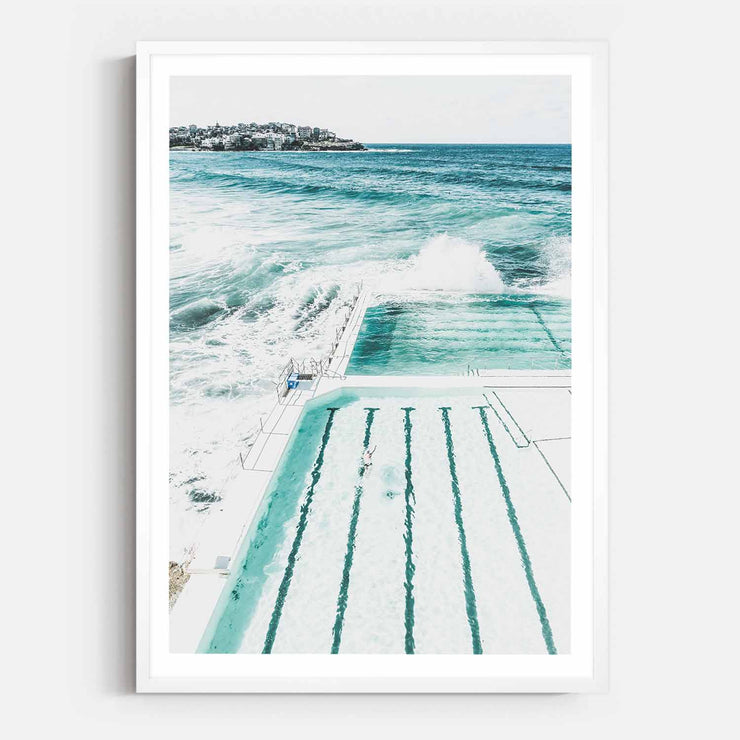 Print Workshop, Framed Print, Bondi Beach Pool, Box Frame, White Smooth Coating with White Border