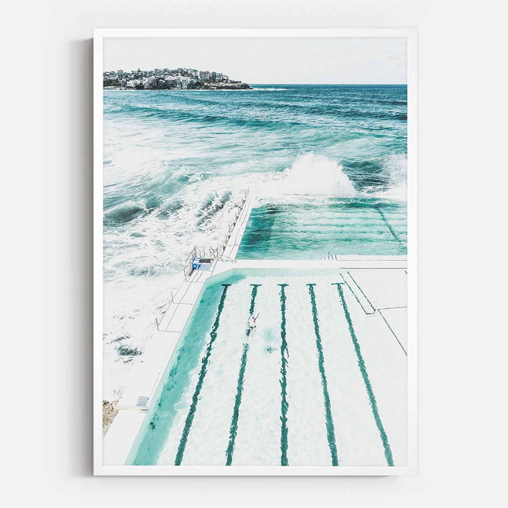 Print Workshop, Framed Print, Bondi Beach Pool, Box Frame, White Smooth Coating, No White Border