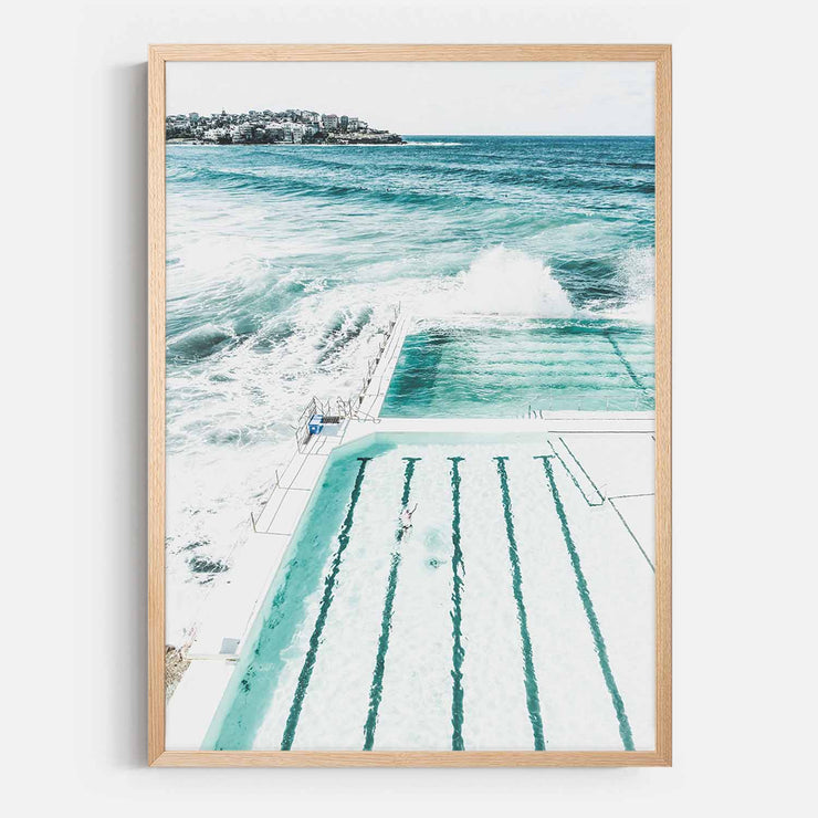 Print Workshop, Framed Print, Bondi Beach Pool, Natural Australian Oak Box Frame, No White Border