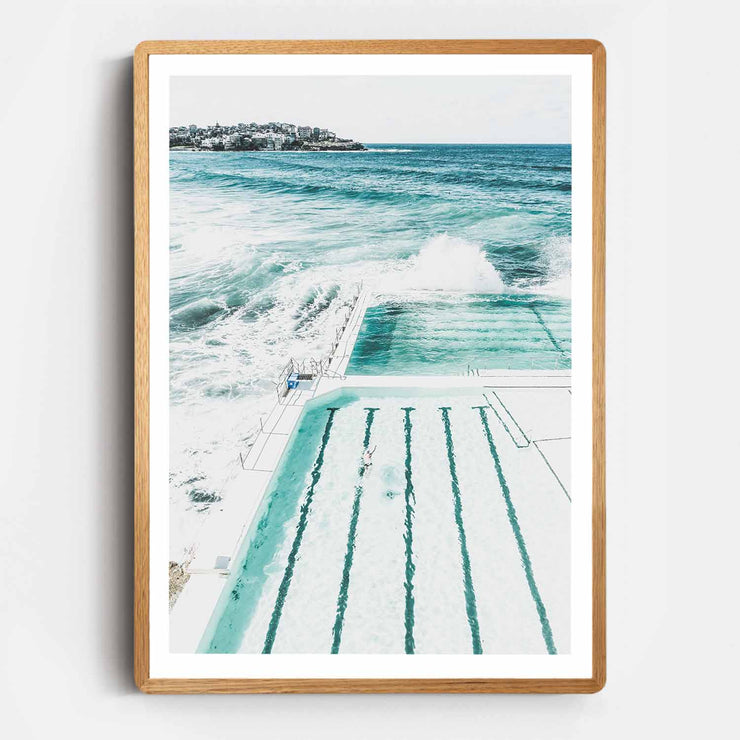 Print Workshop, Framed Print, Bondi Beach Pool, Rounded Corner Natural Oak Box Frame, Light Oak Stain with White Border