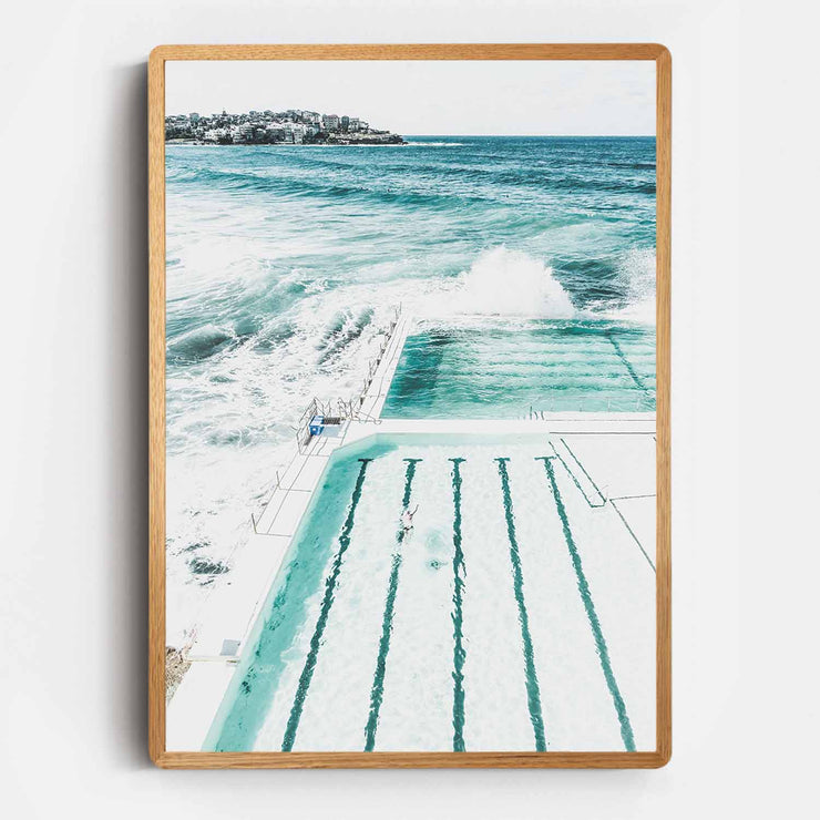 Print Workshop, Framed Print, Bondi Beach Pool, Rounded Corner Natural Oak Box Frame, Light Oak Stain, No White Border