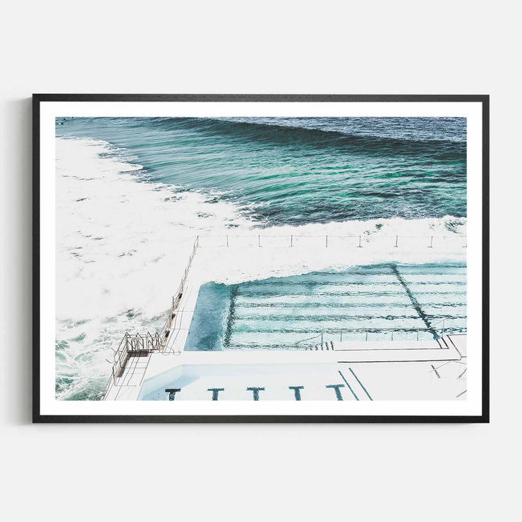Print Workshop, Framed Print, Bondi Icebergs, Natural Oak Box Frame, Black Coating with White Border