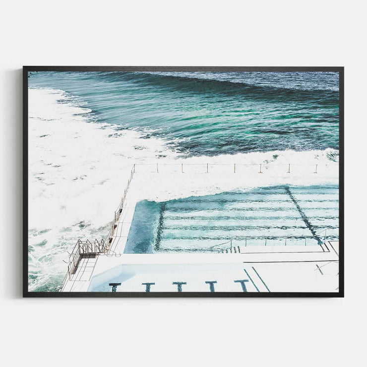 Print Workshop, Framed Print, Bondi Icebergs, Natural Oak Box Frame, Black Coating, No White Border