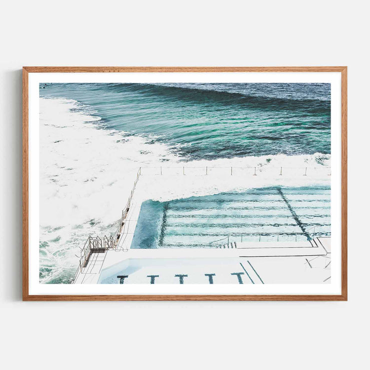 Print Workshop, Framed Print, Bondi Icebergs, Natural Oak Box Frame, Chestnut Stain with White Border