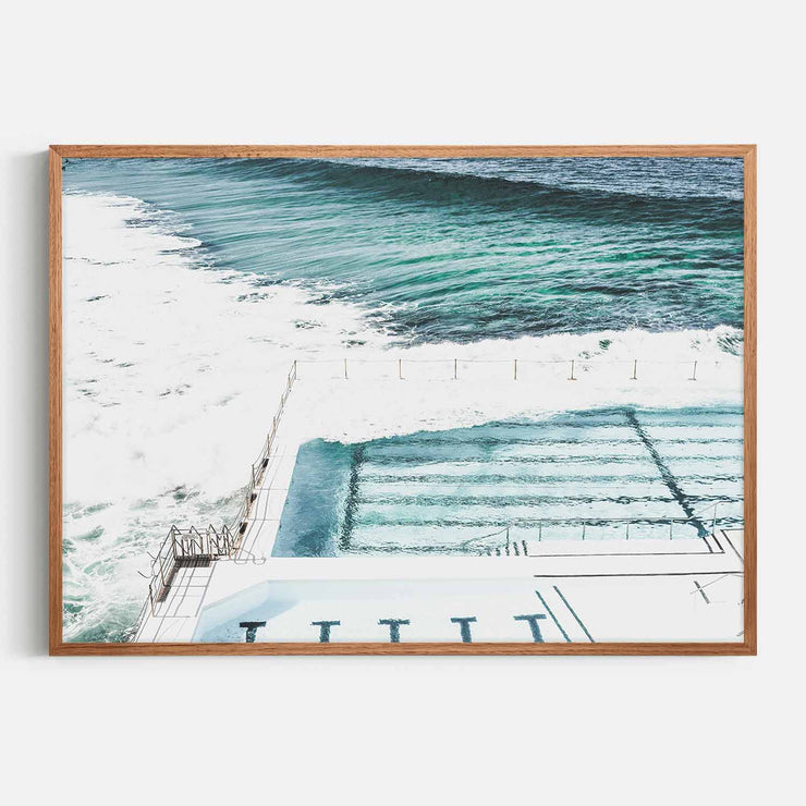 Print Workshop, Framed Print, Bondi Icebergs, Natural Oak Box Frame, Chestnut Stain, No White Border