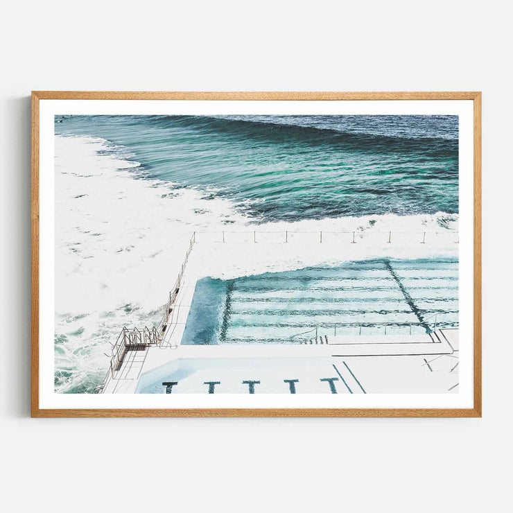 Print Workshop, Framed Print, Bondi Icebergs, Natural Oak Box Frame, Light Oak Stain with White Border