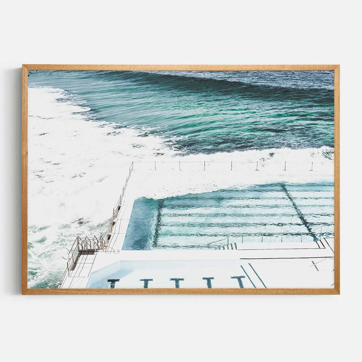 Print Workshop, Framed Print, Bondi Icebergs, Natural Oak Box Frame, Light Oak Stain, No White Border