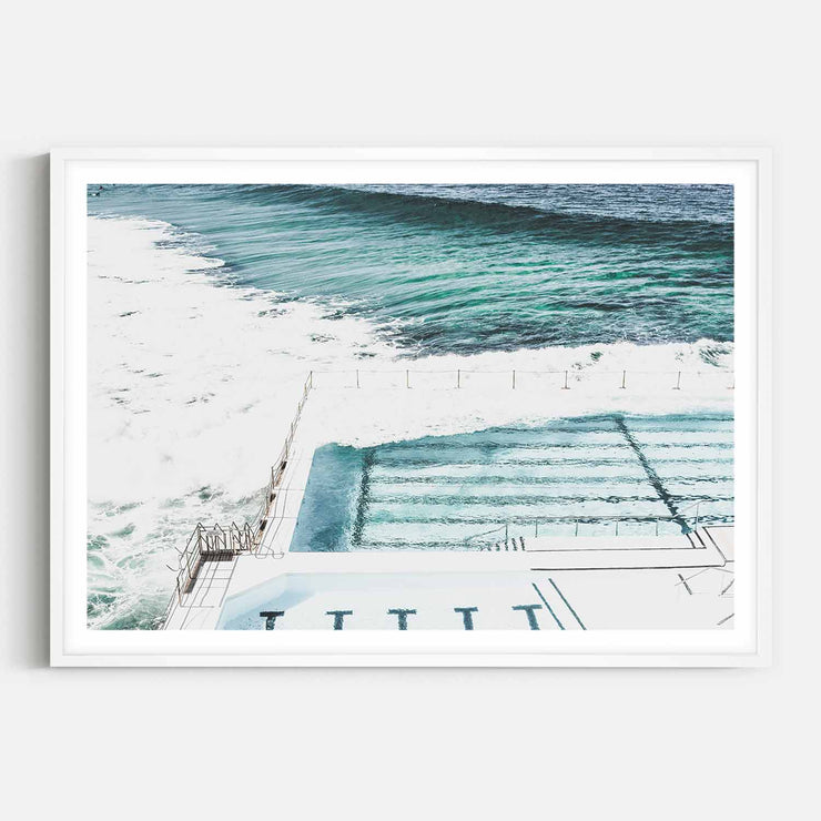 Print Workshop, Framed Print, Bondi Icebergs, Box Frame, White Smooth Coating with White Border