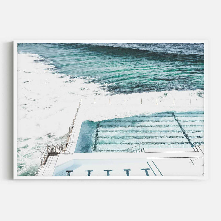 Print Workshop, Framed Print, Bondi Icebergs, Box Frame, White Smooth Coating, No White Border