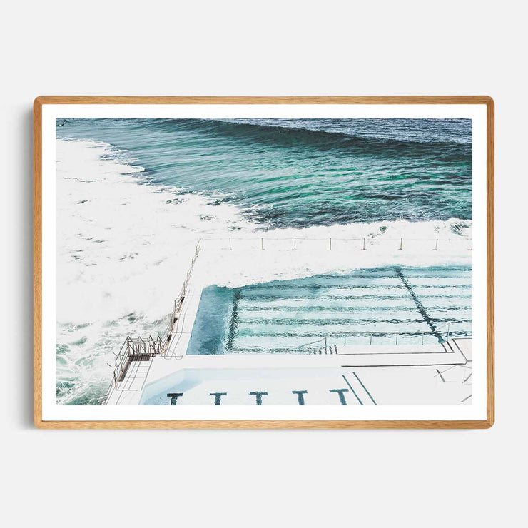Print Workshop, Framed Print, Bondi Icebergs, Rounded Corner Natural Oak Box Frame, Light Oak Stain with White Border
