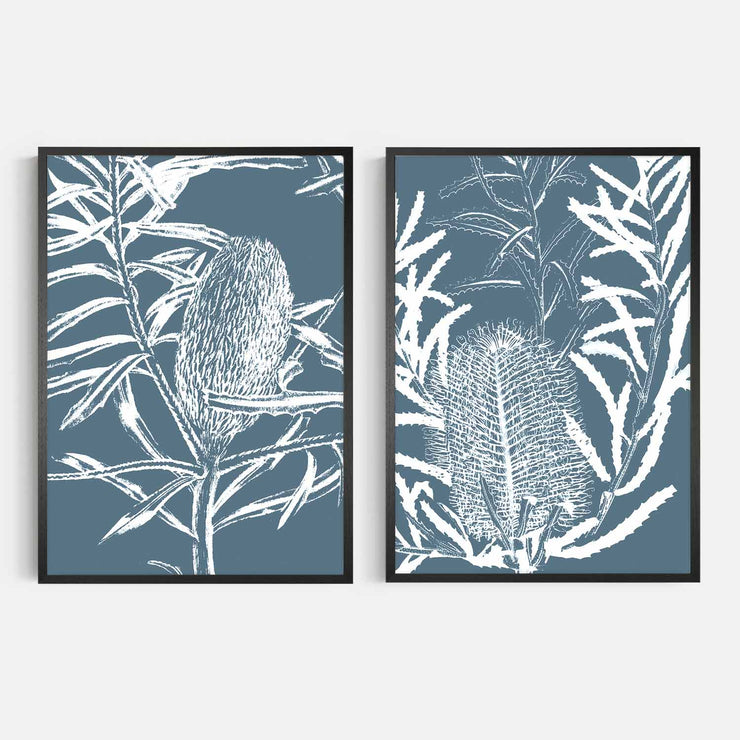 Print Workshop, Framed Print, Botanica Banksia 1 & 2, Natural Oak Box Frame, Black Coating, No White Border