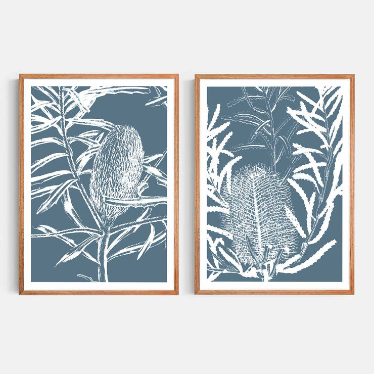 Print Workshop, Framed Print, Botanica Banksia 1 & 2, Natural Oak Box Frame, Chestnut Stain with White Border