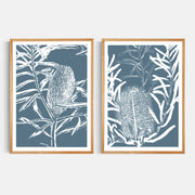 Print Workshop, Framed Print, Botanica Banksia 1 & 2, Natural Oak Box Frame, Light Oak Stain, No White Border