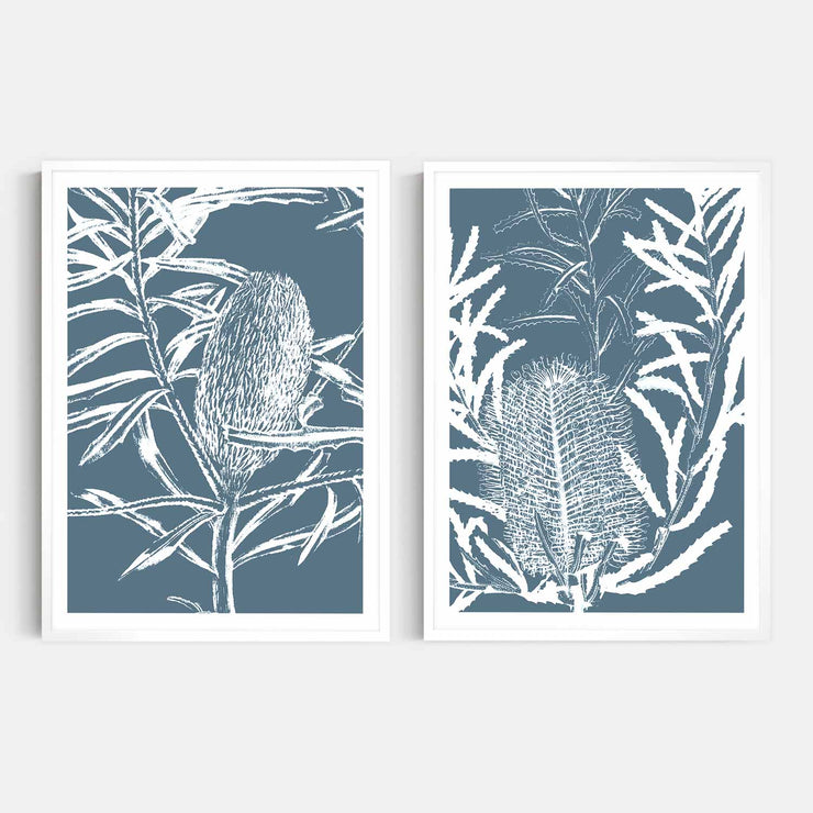 Print Workshop, Framed Print, Botanica Banksia 1 & 2, Box Frame, White Smooth Coating with White Border