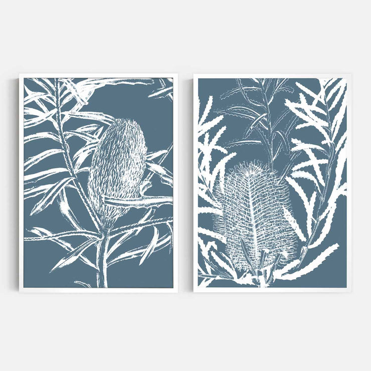 Print Workshop, Framed Print, Botanica Banksia 1 & 2, Box Frame, White Smooth Coating, No White Border