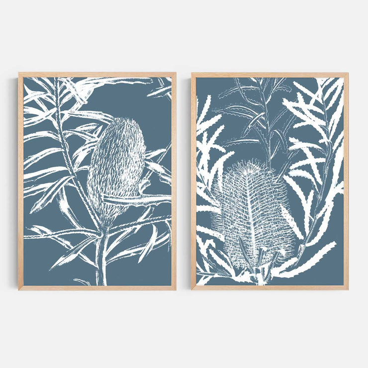 Print Workshop, Framed Print, Botanica Banksia 1 & 2, Natural Australian Oak Box Frame, No White Border