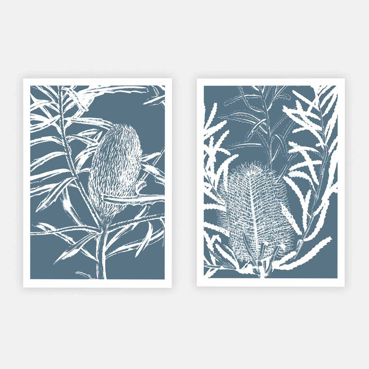Print Workshop, Botanica Banksia 1 & 2, Print Only No Frame with White Border