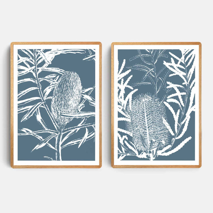 Print Workshop, Framed Print, Botanica Banksia 1 & 2, Rounded Corner Natural Oak Box Frame, Light Oak Stain with White Border