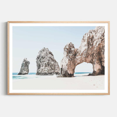 Print Workshop, Framed Print, Cabo San Lucas, Natural Australian Oak Box Frame with White Border