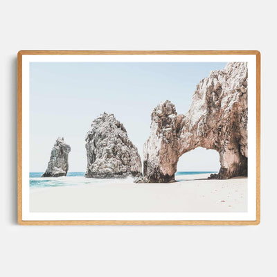 Print Workshop, Framed Print, Cabo San Lucas, Rounded Corner Natural Oak Box Frame, Light Oak Stain with White Border