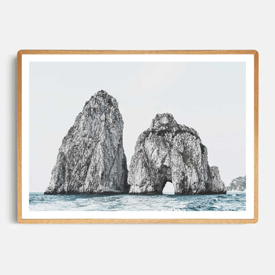 Print Workshop, Framed Print, Faraglioni Island, Rounded Corner Natural Oak Box Frame, Light Oak Stain with White Border