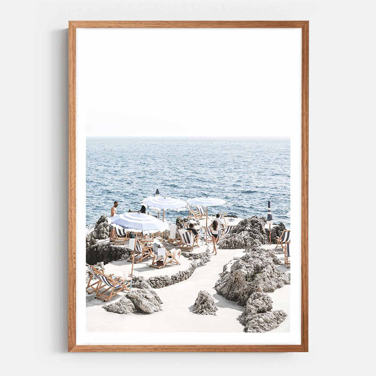 Print Workshop, Framed Print, Amalfi Summer Time, Natural Oak Box Frame, Chestnut Stain with White Border
