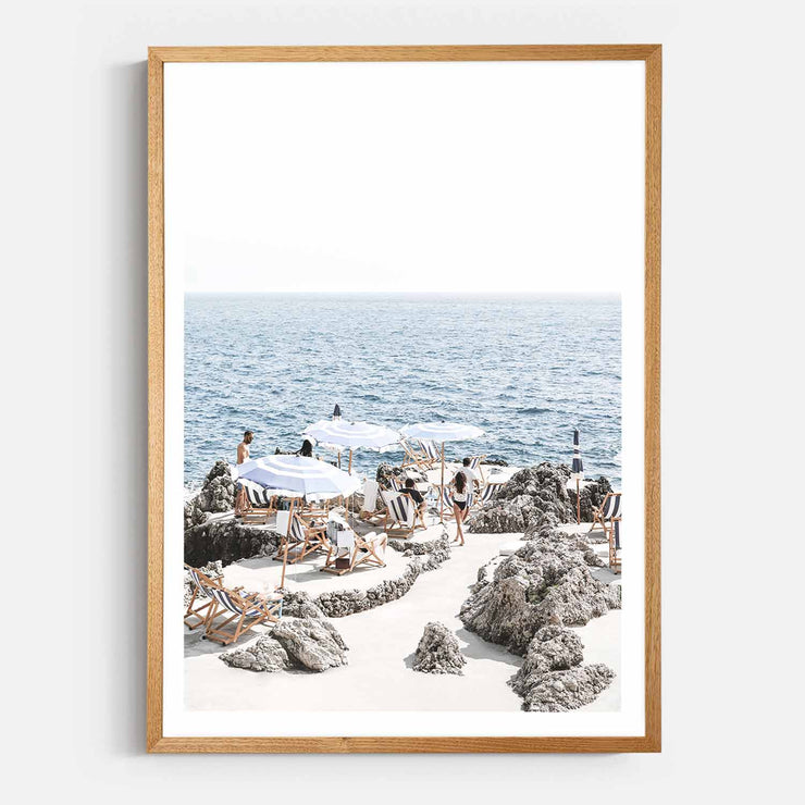Print Workshop, Framed Print, Amalfi Summer Time, Natural Oak Box Frame, Light Oak Stain with White Border