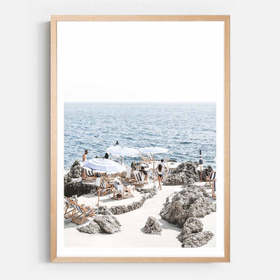 Print Workshop, Framed Print, Amalfi Summer Time, Natural Australian Oak Box Frame with White Border