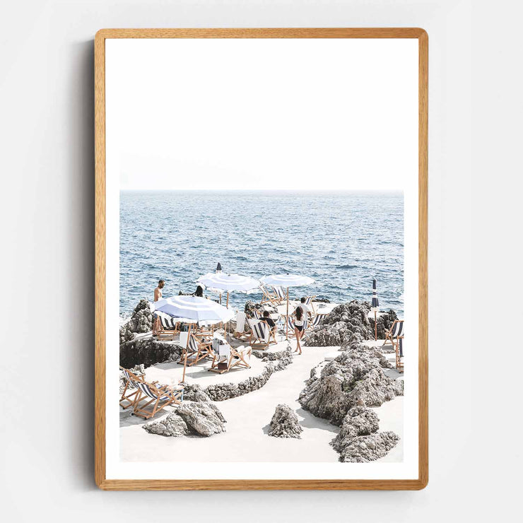 Print Workshop, Framed Print, Amalfi Summer Time, Rounded Corner Natural Oak