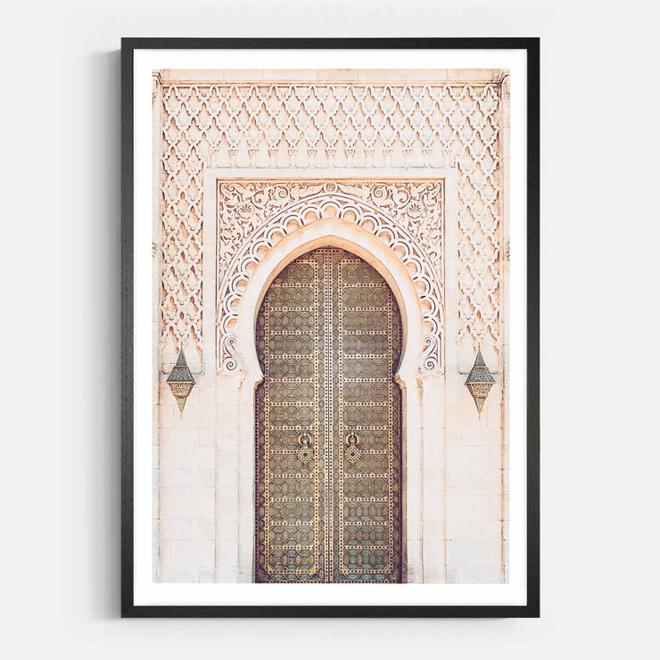Print Workshop, Framed Print, Moroccan Arch, Natural Oak Box Frame, Black Coating with White Border