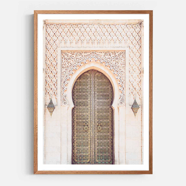 Print Workshop, Framed Print, Moroccan Arch, Natural Oak Box Frame, Chestnut Stain with White Border