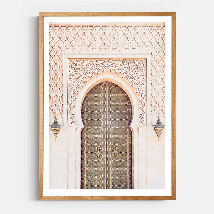 Print Workshop, Framed Print, Moroccan Arch, Natural Oak Box Frame, Light Oak Stain with White Border