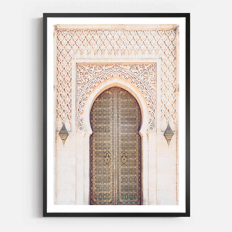Print Workshop, Framed Print, Moroccan Arch, Box Frame, Black Smooth Coating with White Border